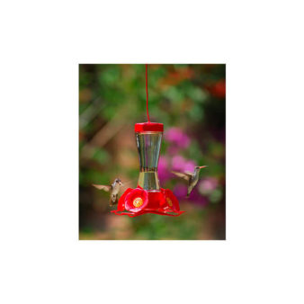Perky Pet Pinch-waist Hummingbird Feeder, available at The Audubon Shop, the best store for birders, in Madison, CT.