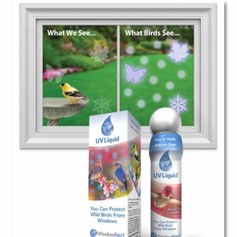 WindowAlert UV Liquid What We See, What Birds See, available at The Audubon Shop, the best shop for birdwatchers, Madison CT