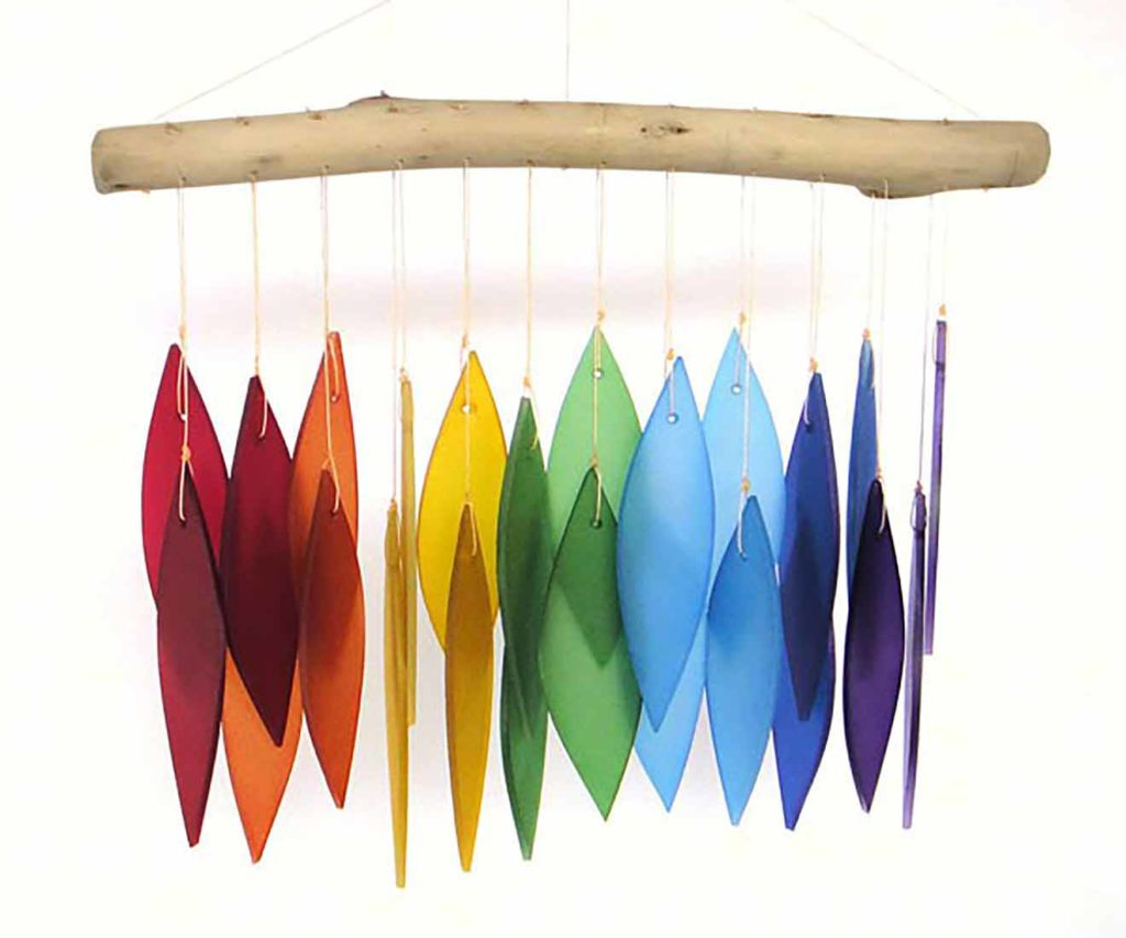 Rainbow Driftwood Wind Chime, available at The Audubon Shop, the best shop for bird watchers, Madison CT