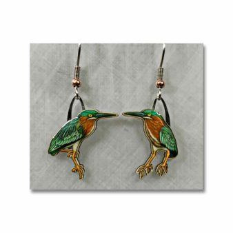 Green Heron Earrings, available at The Audubon Shop, the best shop for bird watchers, Madison CT