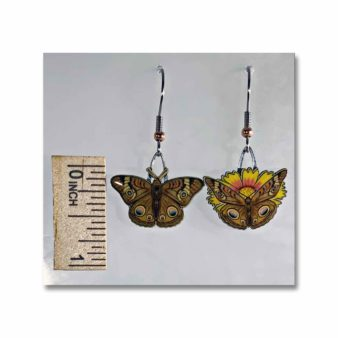 Jabebo Common Buckey Butterfly Earrings, available at The Audubon Shop, the best shop for nature lovers, Madison CT